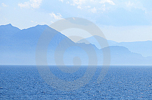 Blue Sea Scape With Mountains Stock Photo - Image: 15427960