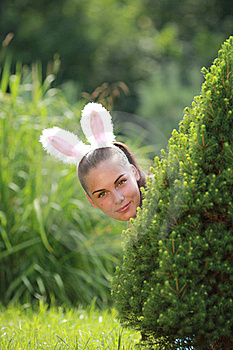 Girl With Funny Rabbit Ears Royalty Free Stock Image - Image: 15430016