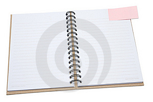 Recycled Notebook Cover Open With Pink Reminder Stock Photo - Image: 15434660