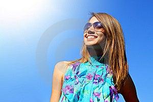 Joyful Girl On A Blue Background Stock Photo - Image: 15438250