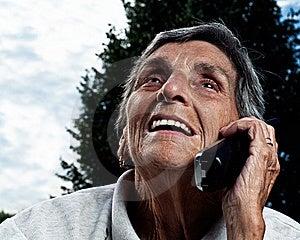 Eldery Senior Woman On Cordless Phone Stock Image - Image: 15448701
