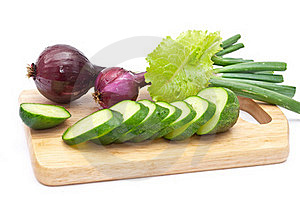 Green Cucumber Slices With Red Onion Stock Photography - Image: 15449602