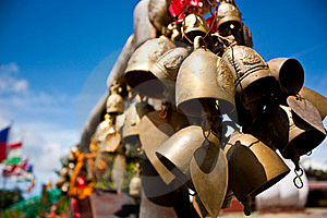 Gold Small Bell At Thai Temple. Stock Images - Image: 15452664