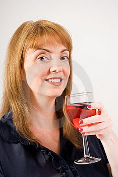 Woman Drinking Red Wine Royalty Free Stock Photography - Image: 15453737