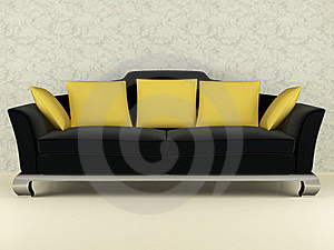 Modern Black Sofa Indoor Stock Photography - Image: 15454642