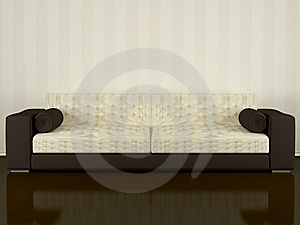 Modern Brown Sofa Indoor Royalty Free Stock Images - Image: 15454899