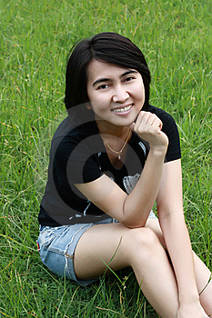 Beautiful  Woman Smiling In The Park Stock Image - Image: 15458251