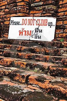 Do Not Climb Sign Royalty Free Stock Photography - Image: 15460517
