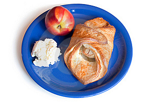 Croissant, Peach And Cream Cheese On A Plate Royalty Free Stock Photos - Image: 15463498