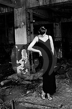 Upset Girl Posing In Demolished Construction Stock Photos - Image: 15471113