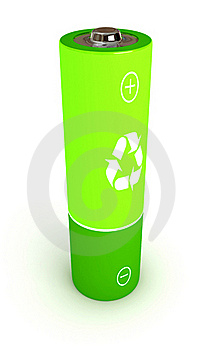 Green Battery Over White Background Royalty Free Stock Photos - Image: 15481408