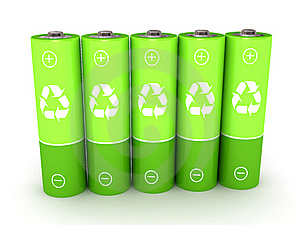 Green Battery Over White Background Stock Photo - Image: 15481410