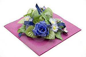 Flowers On Napkin Stock Image - Image: 15482201