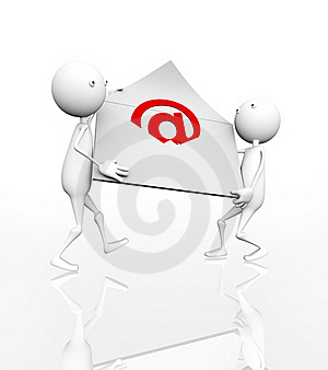 3D Postman With Big Envelope In Hands Royalty Free Stock Photos - Image: 15485468
