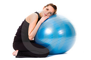 Young Tired, Very Attractive Female With Ball Royalty Free Stock Images - Image: 15485639