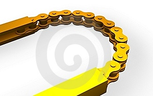 Golden Bicycle Chain Stock Photography - Image: 15491312