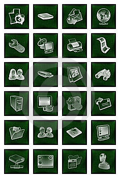 Icons Buttons Set In Green Royalty Free Stock Photos - Image: 15492198