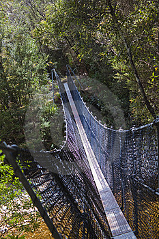Hikers Suspension Bridge Over Franklin River Royalty Free Stock Photography - Image: 15492267