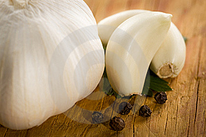 Vintage Still Life With Garlic, Pepper, Close-up Royalty Free Stock Images - Image: 15497789