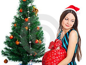 Girl Near Christmas Fir Tree Stock Photography - Image: 15497872