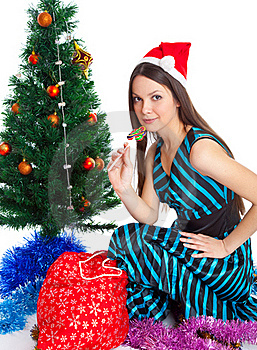Girl Near Christmas Fir Tree Stock Image - Image: 15497931
