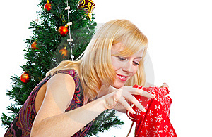 Girl Near Christmas Fir Tree Royalty Free Stock Image - Image: 15497956