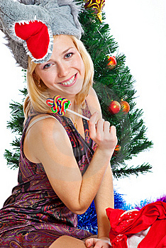 Girl Near Christmas Fir Tree Royalty Free Stock Photography - Image: 15497957