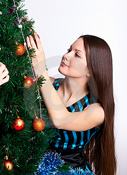 Girl Near Christmas Fir Tree Royalty Free Stock Photos - Image: 15497978