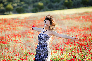 Happy Run On Field Royalty Free Stock Photo - Image: 15498145