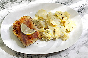 Fried Fish And Potato Salad Stock Image - Image: 15498261
