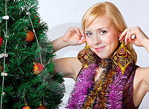 Girl Near Christmas Fir Tree Stock Images - Image: 15499294