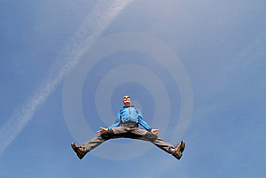 Man Jump On Blue Sky Stock Photography - Image: 1554722