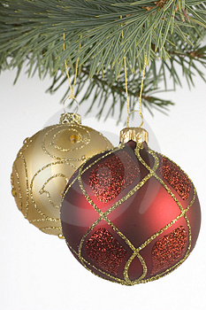 Red And Gold Christmas Baubles Stock Photos - Image: 1559053