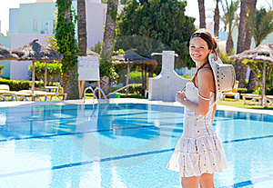 Young Woman Near The Pool Royalty Free Stock Photos - Image: 15500238
