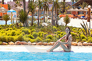 Young Woman Near The Pool Royalty Free Stock Photography - Image: 15501187