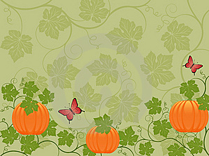 Floral Background With A Pumpkin Royalty Free Stock Image - Image: 15501326