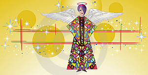 Stained Glass Angel With Wings  Royalty Free Stock Photo - Image: 15501915