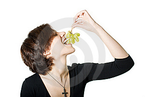 Girl With Grapes Stock Image - Image: 15503291