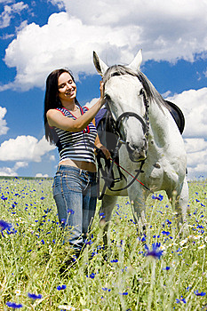 Equestrian With A Horse Royalty Free Stock Image - Image: 15506806