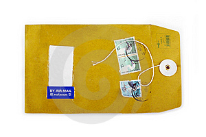 Used Open Paper Envelope With Postage Stamps Royalty Free Stock Photography - Image: 15510887