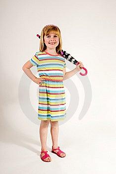 Cute Little Girl With Umbrella Over Sholder Stock Photos - Image: 15513973