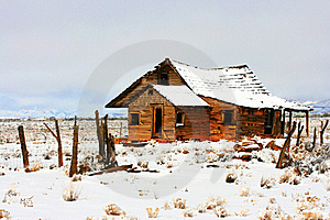 Abandoned Homestead On Prairie In Winter Snows Stock Image - Image: 15514571