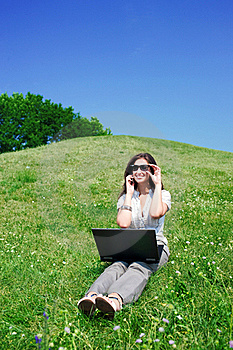 Woman With Notebook And  Phone Sit On Hill Stock Photos - Image: 15516063