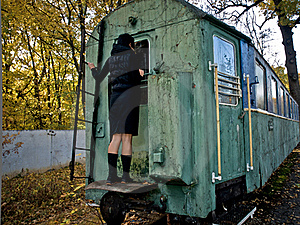 Fall, Woman And Rail Coach Royalty Free Stock Photography - Image: 15517597