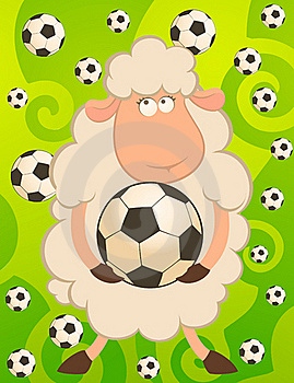 Funny Sheep Play In Football Stock Photography - Image: 15518002