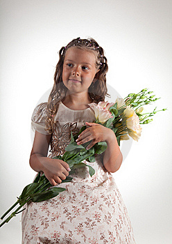Cute Little Girl Holding Flowers Royalty Free Stock Images - Image: 15519789