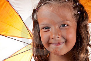 Close-up Shot Of Cute Little Girl With Umbrella Royalty Free Stock Image - Image: 15519886
