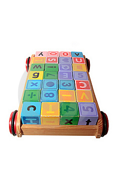 Blocks In Toy Cart With Clipping Path Royalty Free Stock Image - Image: 15520006