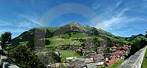 Panorama Chateau D'Oex, Switzerland Stock Image - Image: 15522001