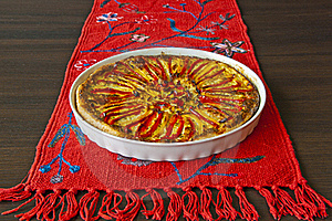 Paprika Pie On The Red Linen Stock Photos - Image: 15523143